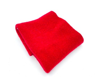 Red Felted Wool Remnant | Preshrunk Lambswool fabric Scrap | Sweater Piece