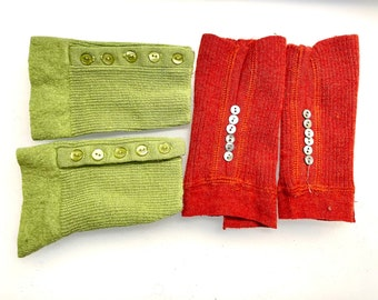 Long Buttoned Wool Cuffs | Upcycled Rib-Knit Scraps for Mittens | Sweater Remnants