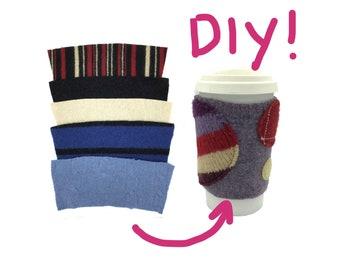 DIY Coffee Cozy - Recycled Wool Blanks - Quarantine Craft Project - Coffee Sleeves Kit