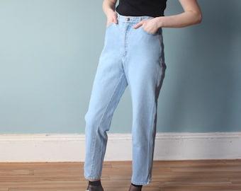 stone washed DKNY jeans | light blue high waisted jeans | medium