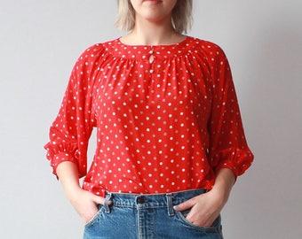 vintage plus size blouse | red polka dot plus size top, size XL