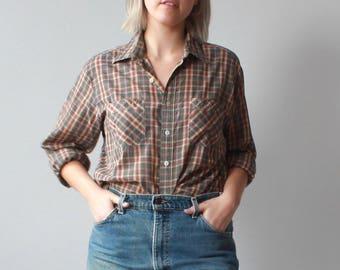 vintage 70s plus size plaid shirt | soft brown plaid button up, size XL-XXL