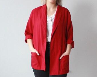vintage plus size blazer | red plus size oversized jacket, XL