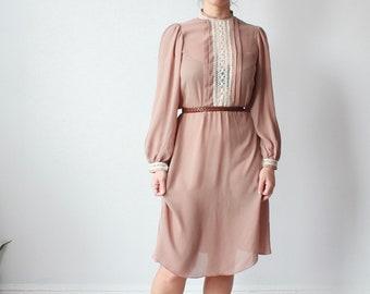 vintage nude lace dress | long sleeve lace paneled dress, size medium