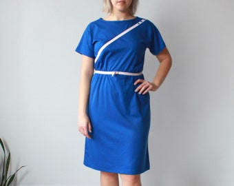 vintage plus size dress | belted blue white dress, XL