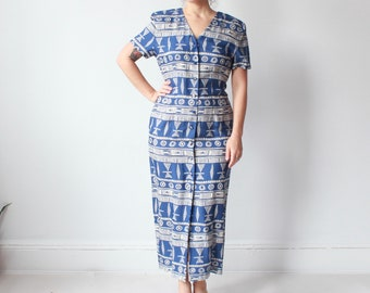 vintage tribal maxi dress | blue white 90s wiggle dress, size small-medium