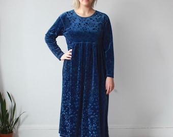 vintage plus size dress | blue velvet floral baby doll dress, size 12-14