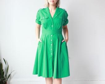 vintage plus size dress | green plus size shirt dress, US size 14