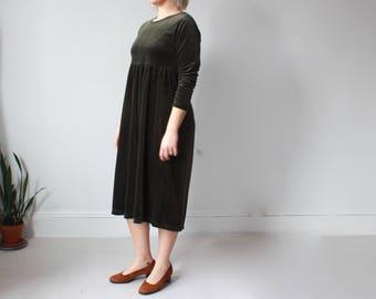 plus size vintage dress | forest green velvet babydoll dress, XL