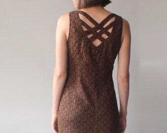 SALE tribal print wiggle dress   cage back 90s midi dress   small