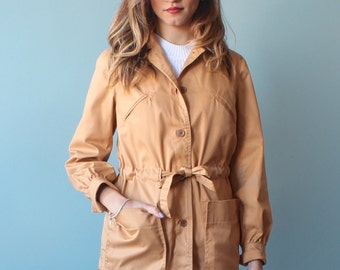 SALE camel trench coat / short trench coat / 1980s / small - medium