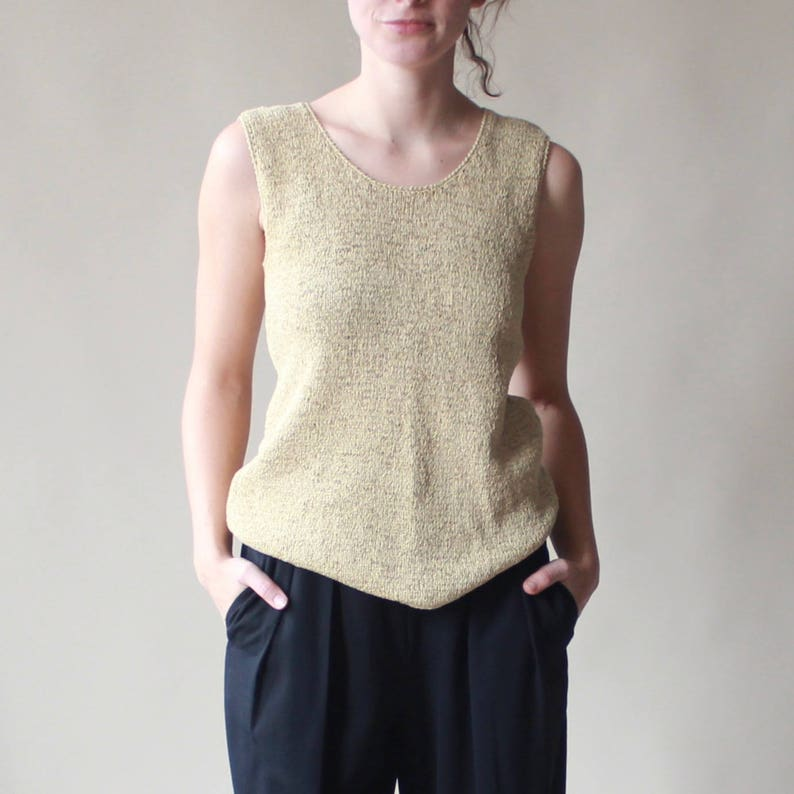 gold knit sleeveless sweater  knit sleeveless top small image 0