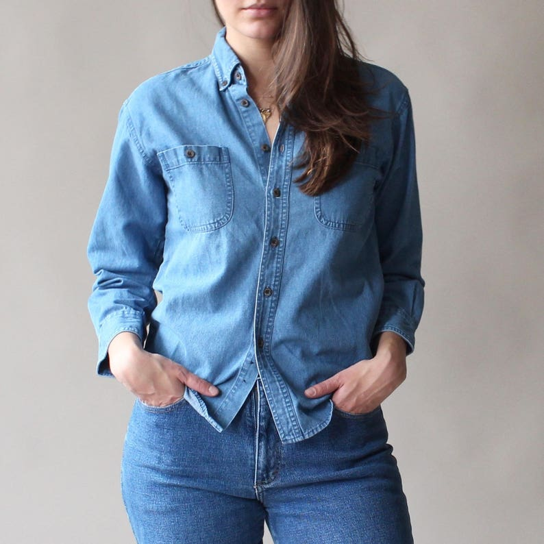 denim blouse  slim fit denim shirt xs-small image 0