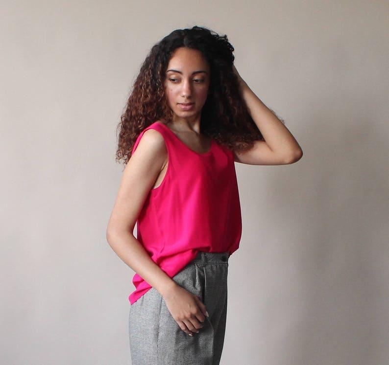 SALE hot pink silk tank top  silk sleeveless top 1990s small image 0
