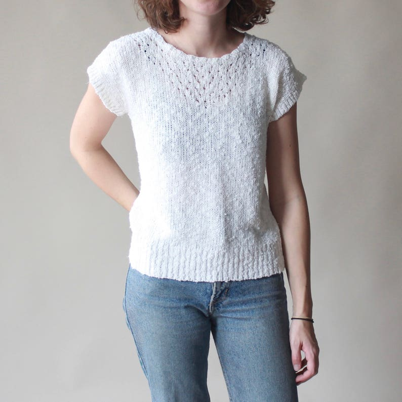 white nubby pullover sweater  short sleeve jumper small image 0