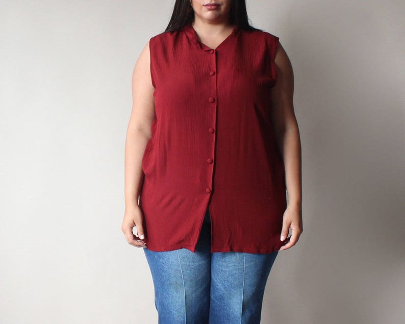 SALE plus size vintage blouse  sleeveless cranberry tunic image 0