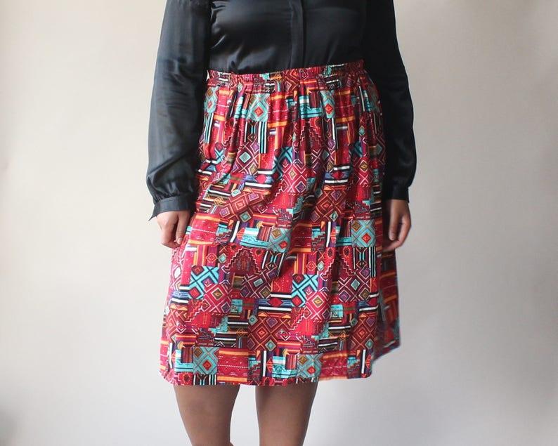vintage plus size skirt  red 90s tribal print skirt size image 0