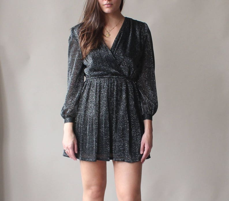vintage silver sparkle mini dress  surplice party dress image 0