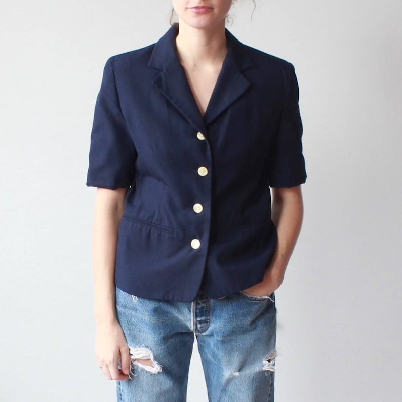 vintage short sleeve blazer  navy short sleeve jacket small image 0