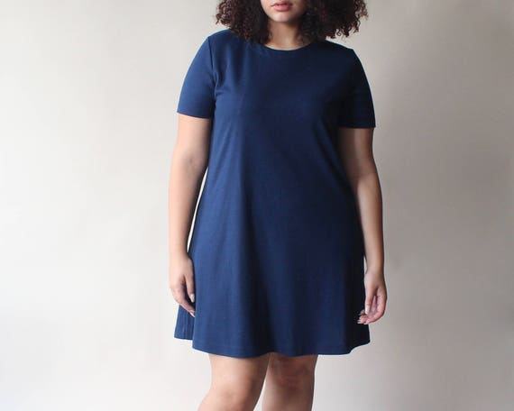 d1b46f9595a plus size vintage dress navy swing shirt dress size 12-16