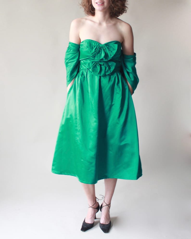vintage 50s cocktail dress  green strapless tea length party image 0