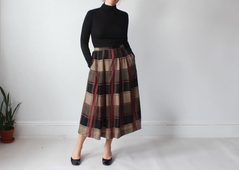 vintage plaid midi skirt  olive mauve wool skirt medium image 0