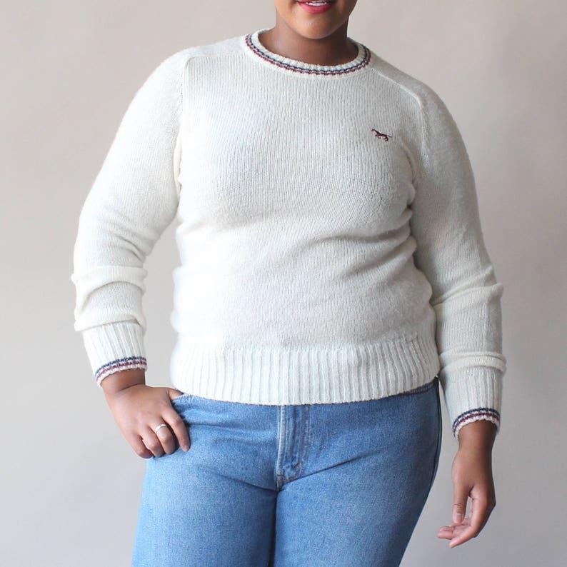SALE plus size pullover sweater  cream stripe horse jumper image 0