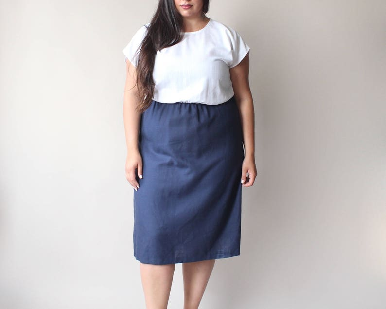 navy and white color block dress size 18 image 0