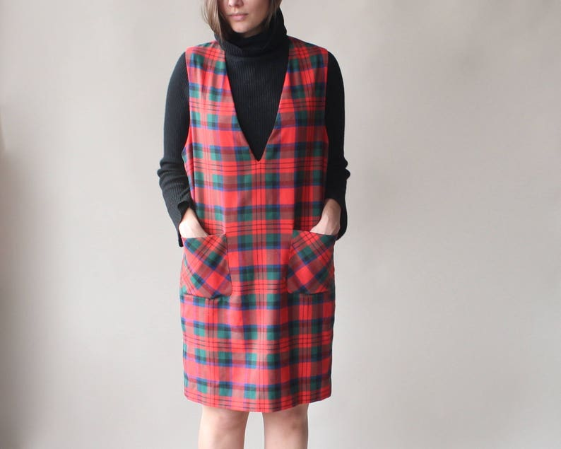 vintage plaid pinafore  red plaid shift dress size small  image 0