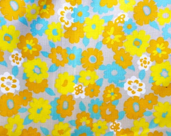 Vintage FABRIC 70s Orange Brown Yellow Large Floral Flower Power Bright 2 1/2 yd x 46 inches wide