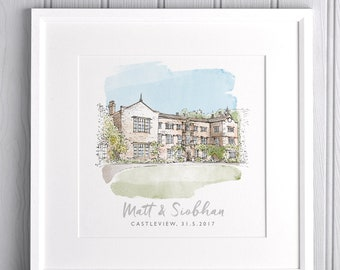 Watercolour Wedding Venue Sketch, Personalised Wedding Gift, Custom Building Illustration, Unique Anniversary Present from Letterfest