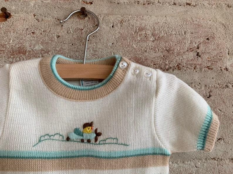 Vintage baby boy sweater onesie