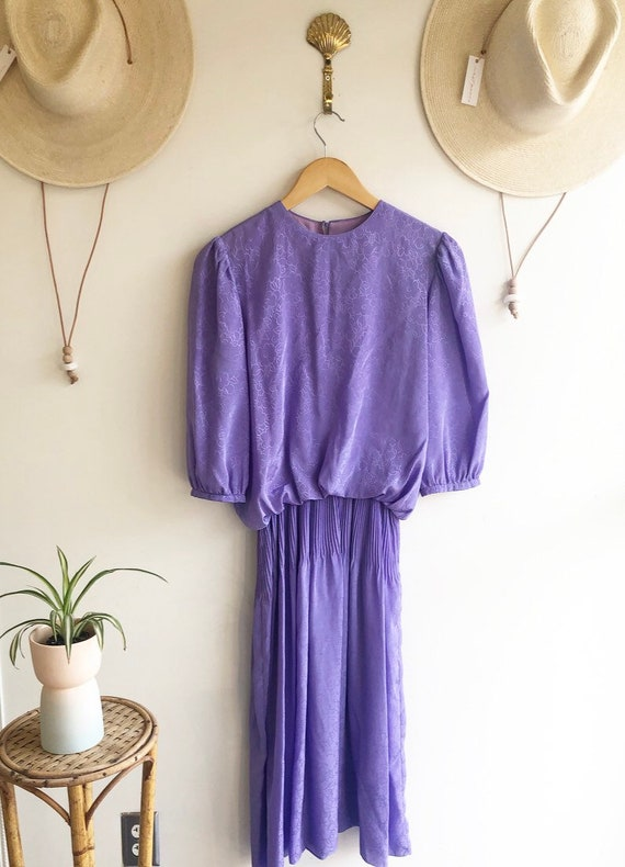 Vintage Purple Puff Sleeve Dress
