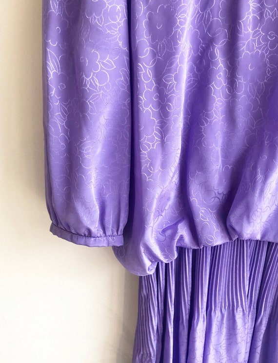 Vintage Purple Puff Sleeve Dress - image 3