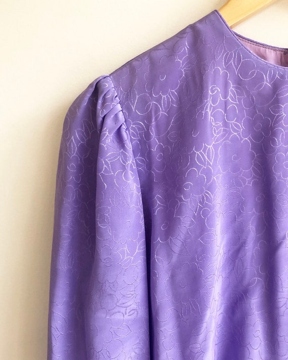Vintage Purple Puff Sleeve Dress - image 2