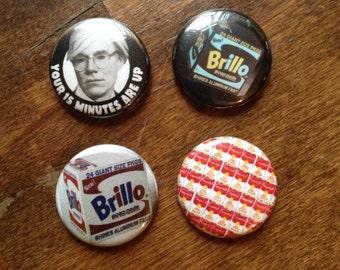 Pop Art Pinback Buttons set of 4