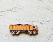 Handmade Rock Hauler Truck Brooch - Pin ME2Designs Upcycled Vintage 1960s Hand Cut Wood Road Vehicle Unique Unisex Jewelry Gift Under 20