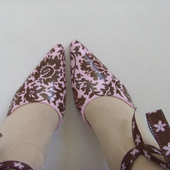 5 UK 5 38 Under Ties Gift US OOAK Heels Pink 7 Damask amp; Feminine Chocolate Eur 100 Brown Aus 6 Shoes Damask Floral Hand Painted nTx1BqH