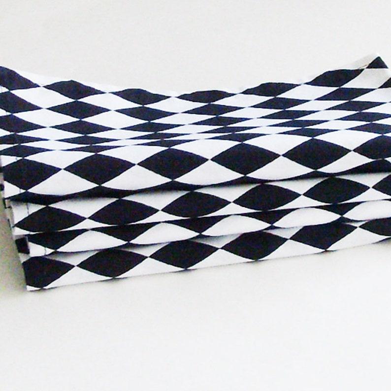 Set of 4 Black and White Harlequin Diamonds Cotton Napkins Crisp Modern Minimalist Eco-Friendly Table Decor  Unique Unisex Gift Under 50
