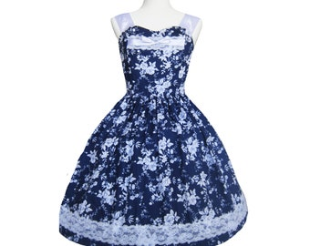 Blue and White Cotton Floral china Tea party Dress Small/Medium with Lace One of a Kind