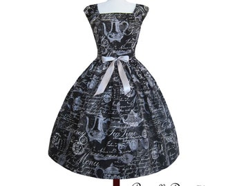 Mysterious Teapot Dress in Black and cream one of a kind Medium Large.