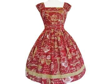 Little golden teapot teaparty dress in red size small one of a kind handmade