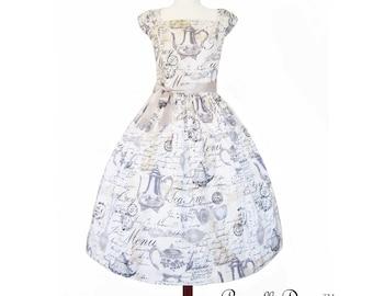 Little Miss Teapot White Teaparty Dress size Large full skirt tea style