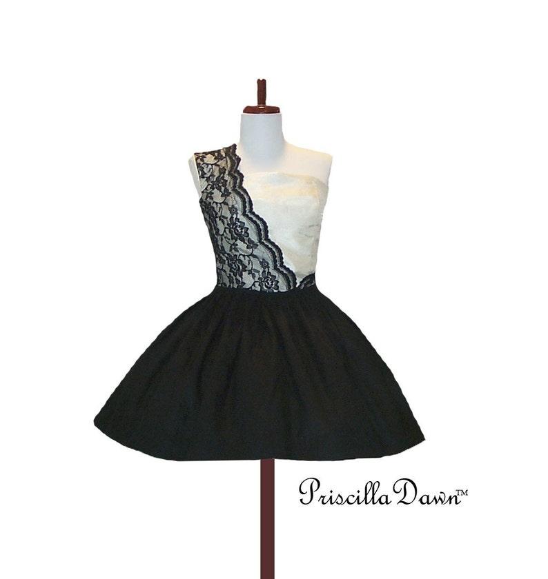 c69cb7219c058 Sassy Sugar Diva in Lace Black and Cream Cocktail Dress Custom   Etsy