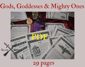 Gods Goddesses and the Mighty Ones BOS Sheets PDF specialty pack -- 29 sheets -- Book of Shadows pages