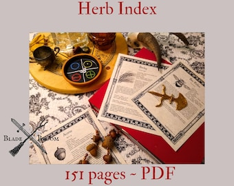 Herb Index BOS Sheets PDF format-- 151 pages Book of Shadows pages by Asteria Books