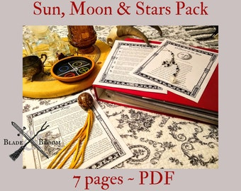 Sun, Moon, and Star Lore BOS Sheets PDF specialty pack -- 7 sheets -- Book of Shadows pages