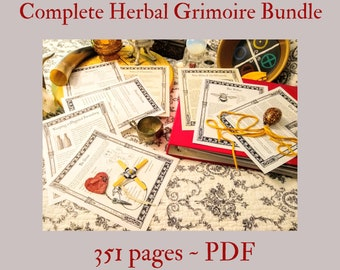 Complete Herbal Grimoire BOS Sheets PDF format-- 351 pages Book of Shadows pages by Asteria Books