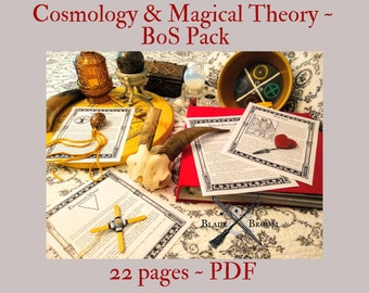 Cosmology and Magical Theory BOS Sheets PDF specialty pack -- 22 sheets -- Book of Shadows pages