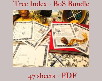 TREE Index BOS Sheets PDF specialty pack -- 47 sheets -- Book of Shadows pages